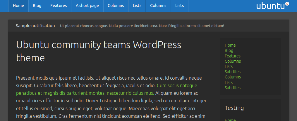 Ubuntu community teams WordPress theme (customized)