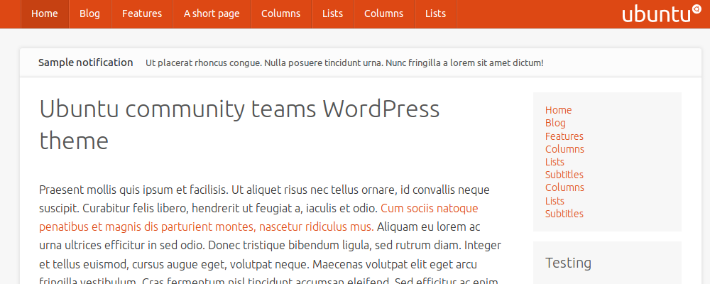 Ubuntu community teams WordPress theme