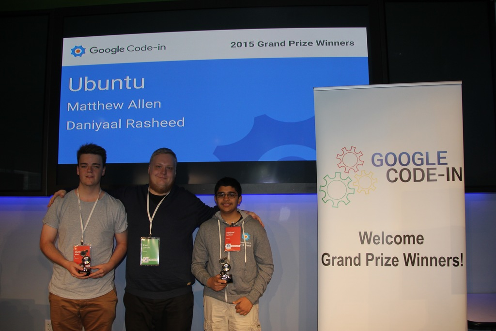 Both winners and myself, the representing mentor for Ubuntu